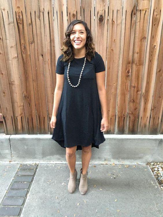 Cute & classy in a black Carly dress!