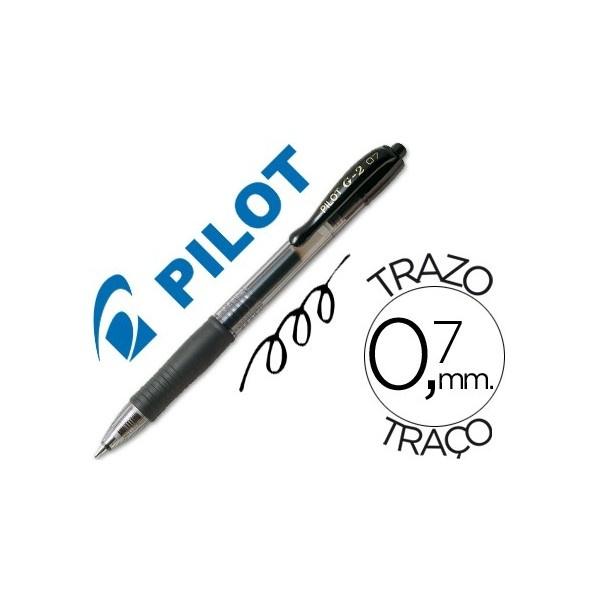 Color: Negro  Bolígrafo retráctil con tinta gel  Con sujeción de caucho y clip del color de la tinta  Grip de caucho en la parte inferior  Diámetro de bola: 0,7 mm  Trazo de 0,7 mm
