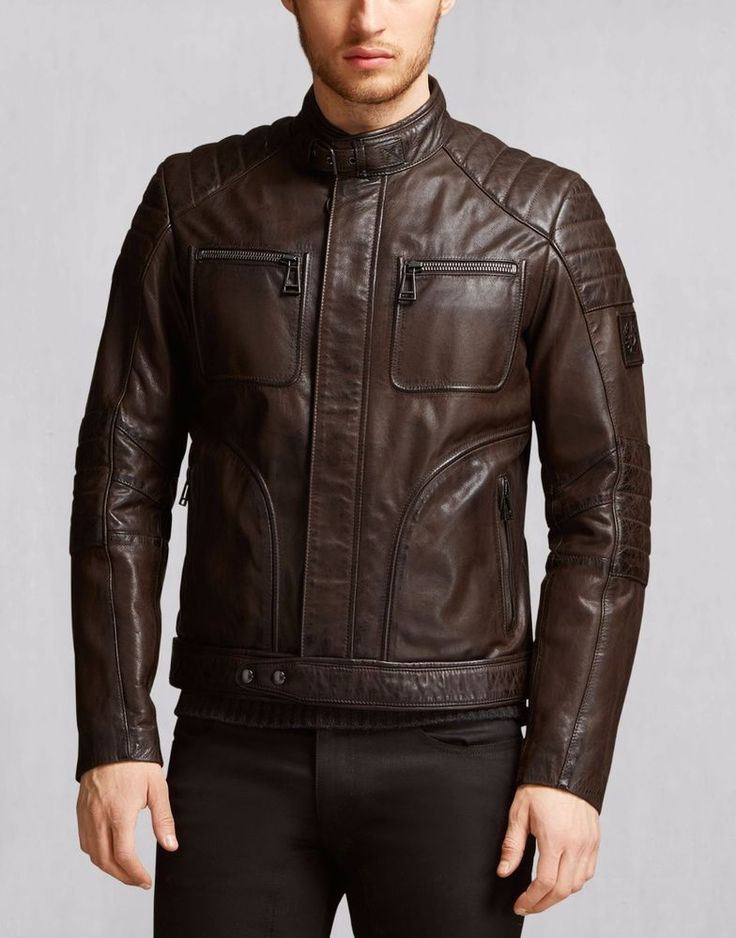 Men's Genuine Lambskin Leather Jacket Brown Biker Motorcycle Winter jacket - 352 #Handmade #BasicJacket