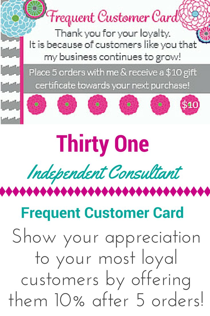 Thirty One Consultant Frequent Customer Card Instant Download https://www.etsy.com/listing/222618858/thirty-one-consultant-frequent-customer?ref=shop_home_active_5