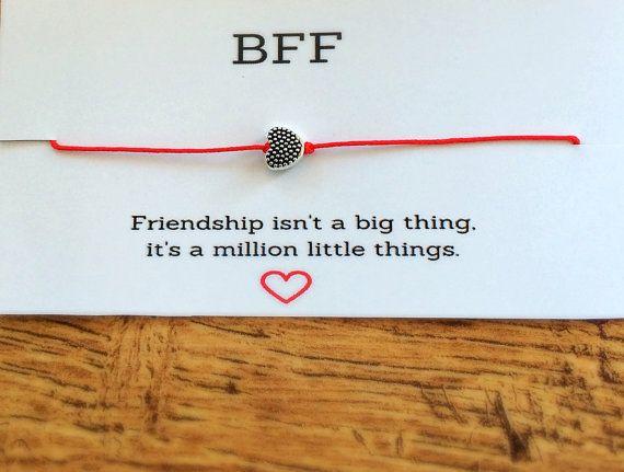 BFF bracelet, Best Friend Bracelet, Heart Bracelet, Red String Bracelet, Quote Bracelet, Gift for best friend, Friendship Bracelet