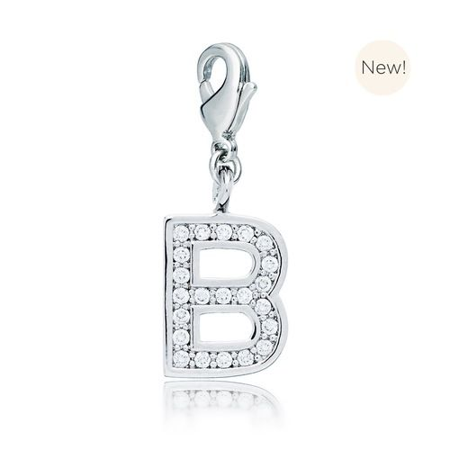 Letter B Initial Charm with Cubic Zirconia Rhodium Plated