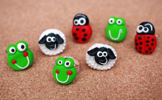 Handmade ring Cute animal ring Polymer clay by handmadeBYmamas