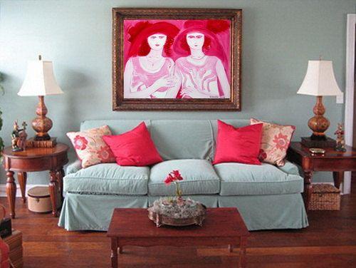 Original oil painting home decoration vintage art deco style 1920s WOMEN pink white painting by Elisaveta Sivas 27 x 35'