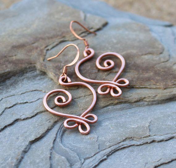 Orecchini cuore celtico rame Wire Jewelry di Karismabykarajewelry