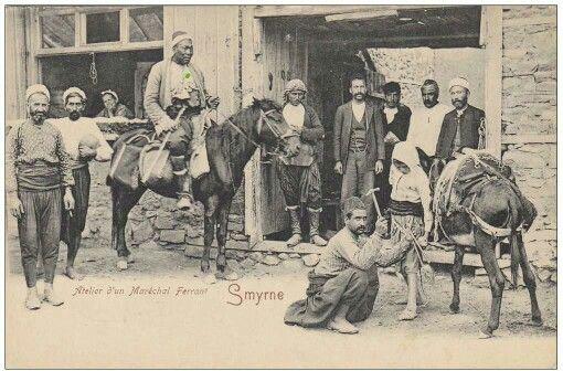 Smyrne-Atelier d'un Maréchal Ferrant