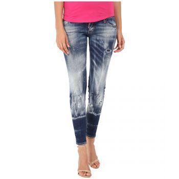 Blugi DSQUARED2 Skinny Jeans Blue dama - Alege o pereche de blugi negrii tip skinny de la unul dintre cele mai cautate brand-uri intenationale