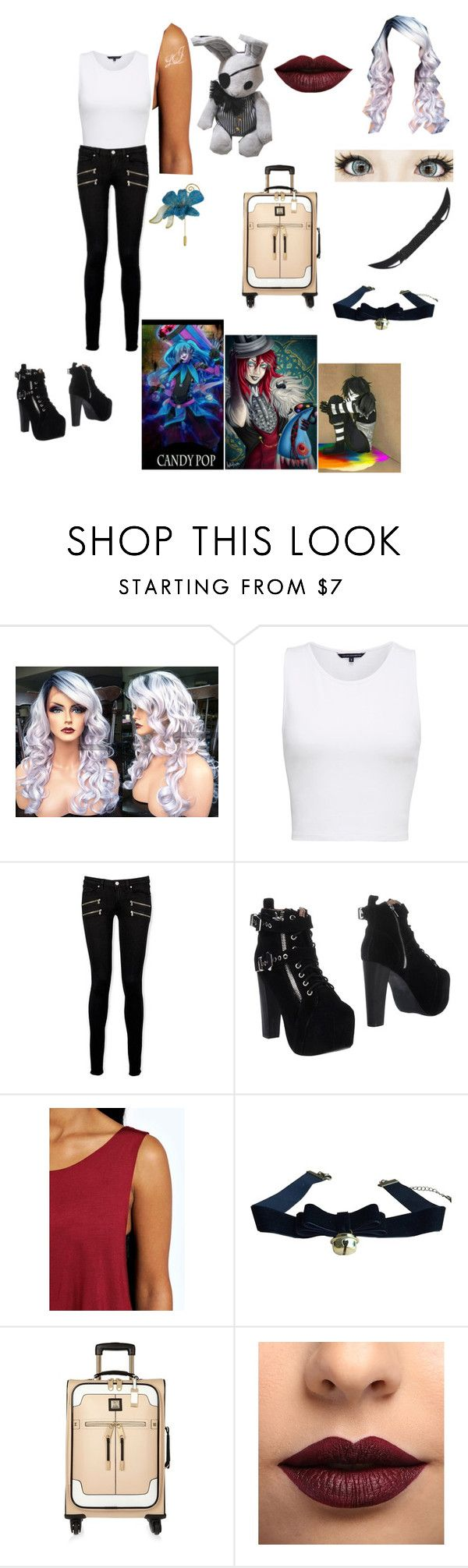 """""""Joel Sophie Grossman outfit 3"""" by laughing-jack5 ❤ liked on Polyvore featuring French Connection, Paige Denim, Jeffrey Campbell, Boohoo, Ciel, River Island, LASplash and NOVICA"""