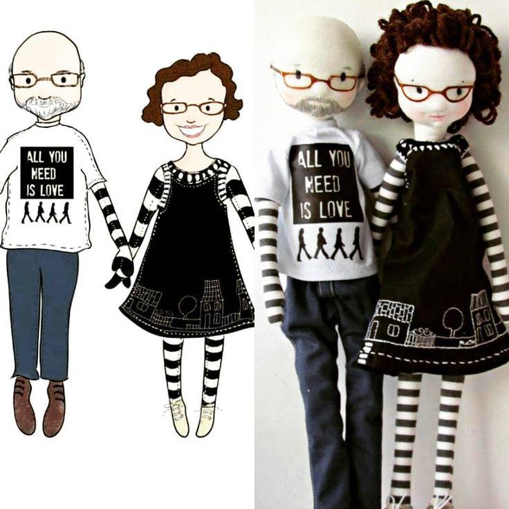 "182 Me gusta, 16 comentarios - Anacardia (@anacardiaatelier) en Instagram: ""Juca e Daniela. Desenho da @ceciliamurgeldrawings #handmadedolls #fabricdolls #ooakdolls…"""