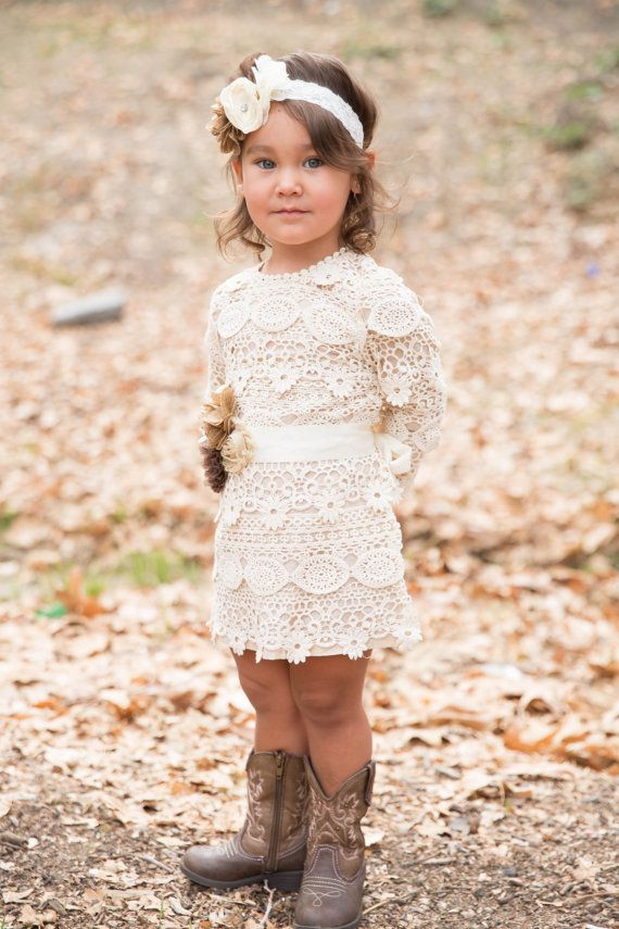 lace baby dress flower girl dress rustic lace by PoshPeanutKids