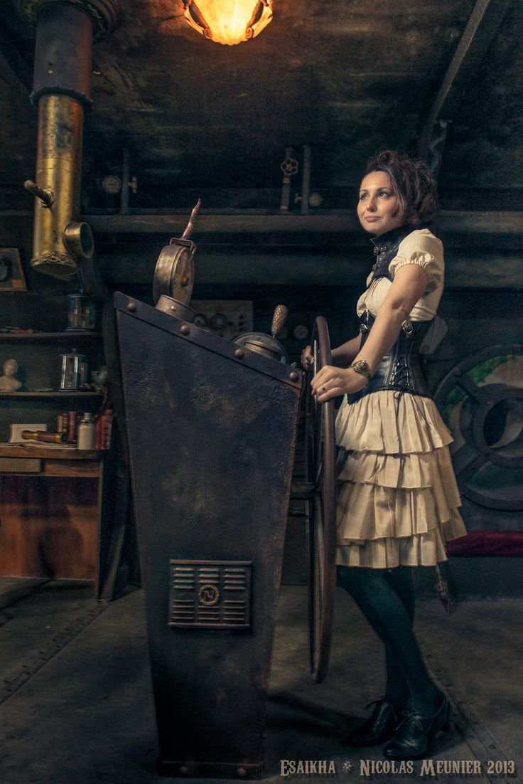 Welcome to the surreal steampunk apartment where jules verne meets tim - Steampunk Dark Brown Leather With Gorgerin Cream Coloured Dress Costume For The French Webseries Neogicia Model Anne Laure Jarnet Photo Nicolas Meun