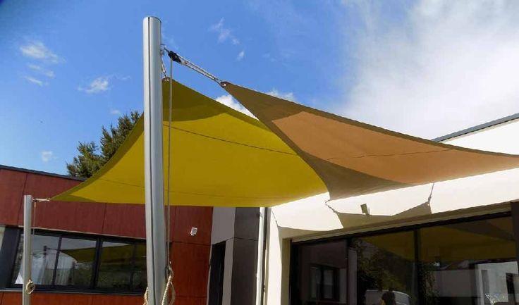 voiles d'ombrage trapèze bambou et triangle chanvre mâts en alu 2