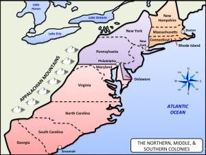 Northern Middle Southern Colonies Map