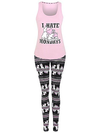 No matter how much you hate Mondays, this pyjama set has cute character graphics of Marie from Disney's Aristocats that will cheer you up. The vest top and l...