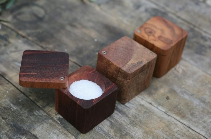Hand made solid South American hardwood salt pinch box. Made from a single solid piece of ancient tropical hardwood reclaimed from the Atlantic City Boardwalk.