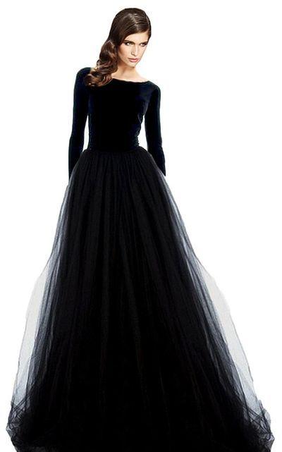 Lange Ballkleider, schwarze Partykleider, lange Ärmel aus Tüll, bescheidene …   – HappyBridal