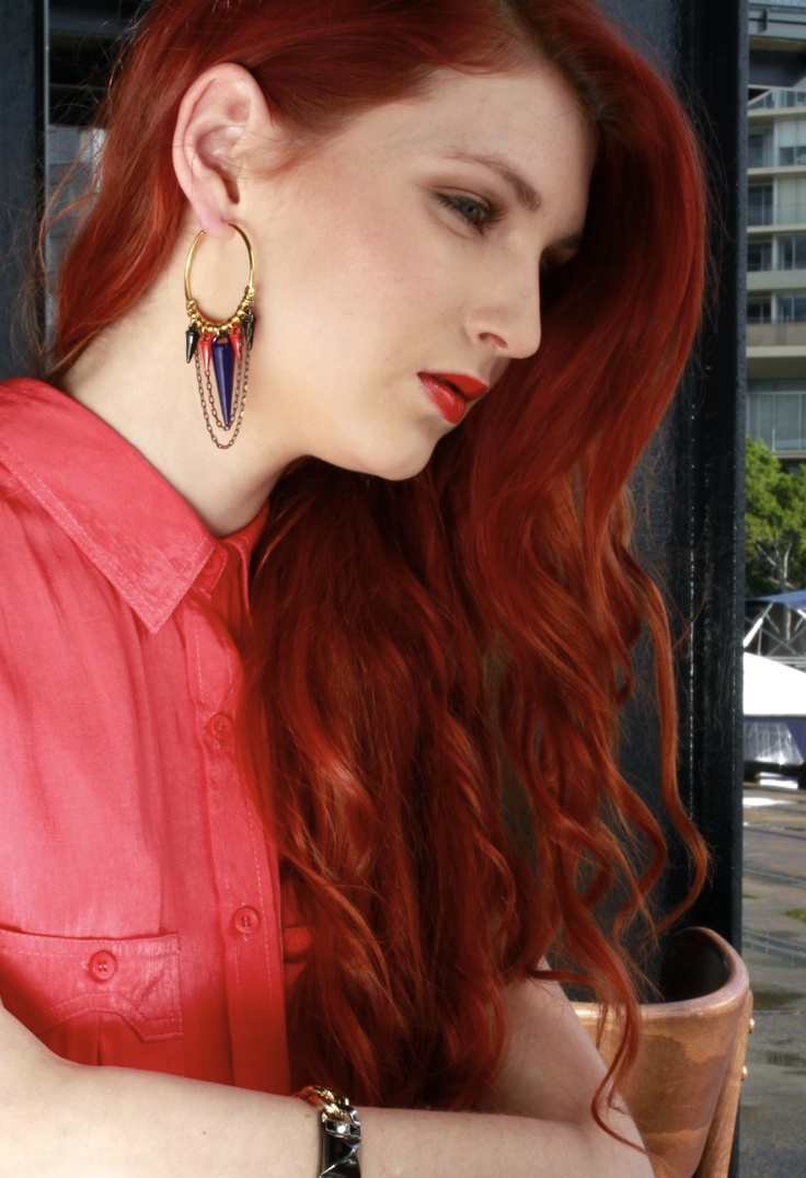 4. Be bright...  Bright colours! What's Summer without them?! These Katerina Psoma earrings feature the two hottest summer pops of colour: tomato and cobalt. Versatile but still exciting, these are light to wear and go gorgeously with just about anything, so begone safe studs and bring on some spikes.