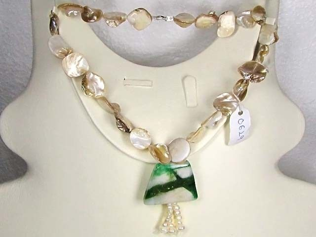 Necklace LK0629 (a) GREEN JADE WITH PEARLS  NATURAL GREEN JADE WITH PEARLS GEMSTONE NECKLACE FROM GEMROCKAUCTIONS.COM