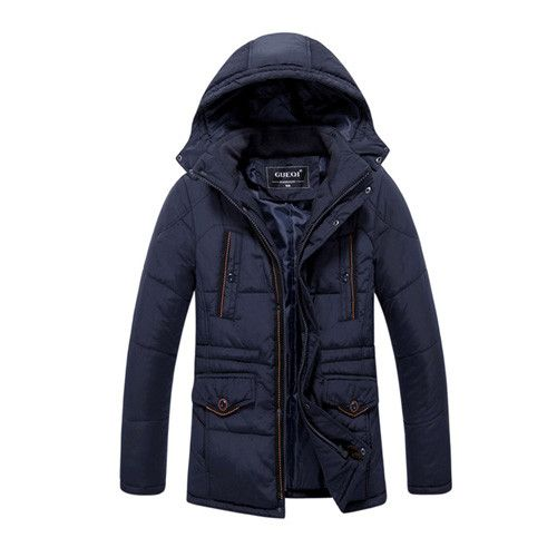 Winter Men Down Parkas Jackets Fashion Disassembly Hooded Thick Warm Parka Outwear Overcoat Wadded Coat Filled Cotton
