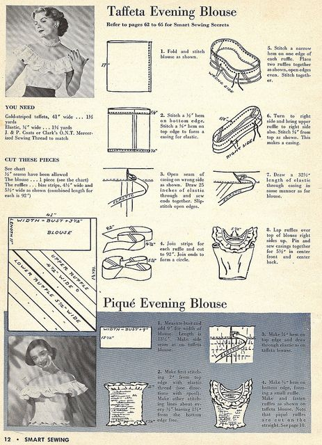 1949 evening blouses with shoulder ruffle sewing pattern - just a tube with a ruffle, super easy #crafts #vintage #fashion
