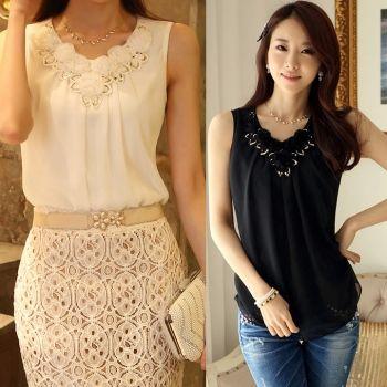 Women Blouse Summer Fashion Ladies Casual Sleeveless Shirt Plus Size Clothing TopsUS$ 3.23