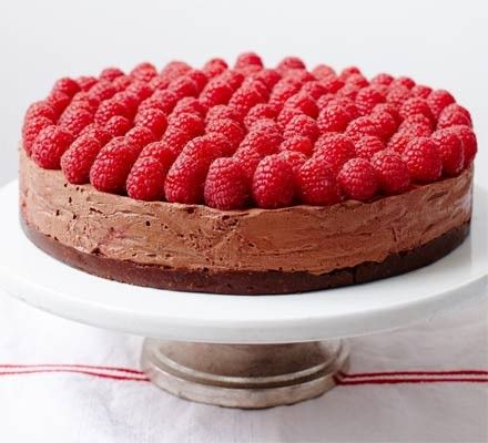 Rich raspberry chocolate mousse cake from BBC Good Food