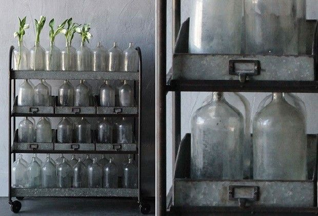 4-Tier Metal Rolling Cart With 6 Bins - From Antiquefarmhouse.com - http://www.antiquefarmhouse.com/current-sale-events/vintage-flair/4-tier-metal-rolling-cart-with-6-bins.html