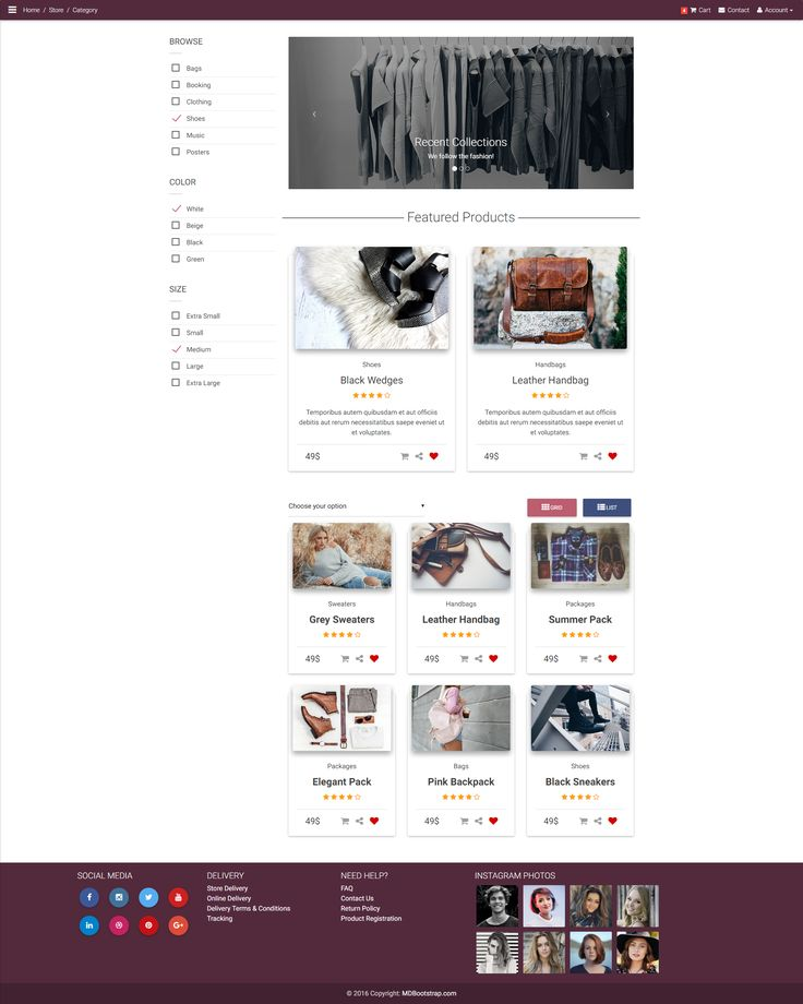 E-commerce category page in Material Design style with additional carousel.