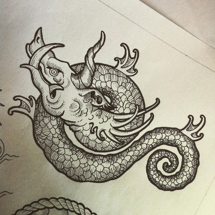 traditional sea monster tattoo - Google Search