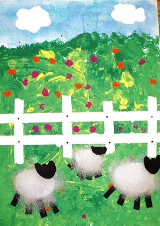 Sheep in the Field, Cut paper fence and cotton ball with cut paper sheep.