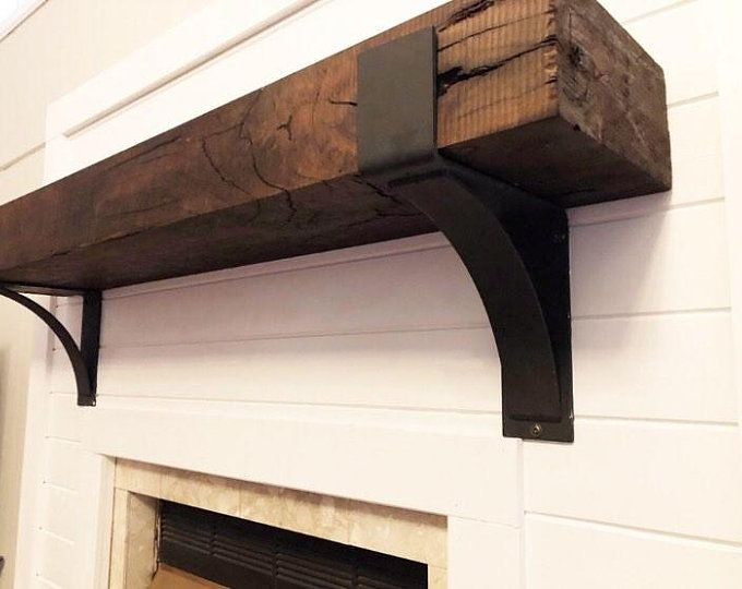 Mantel With Metal Brackets Fireplace Mantel 5x6 6x6 Or 6x8 Mantle Rustic Mantle Floating Barn Wood Barn Beam Custom Lengths Rustic Mantel Farmhouse Mantel Wooden Mantel