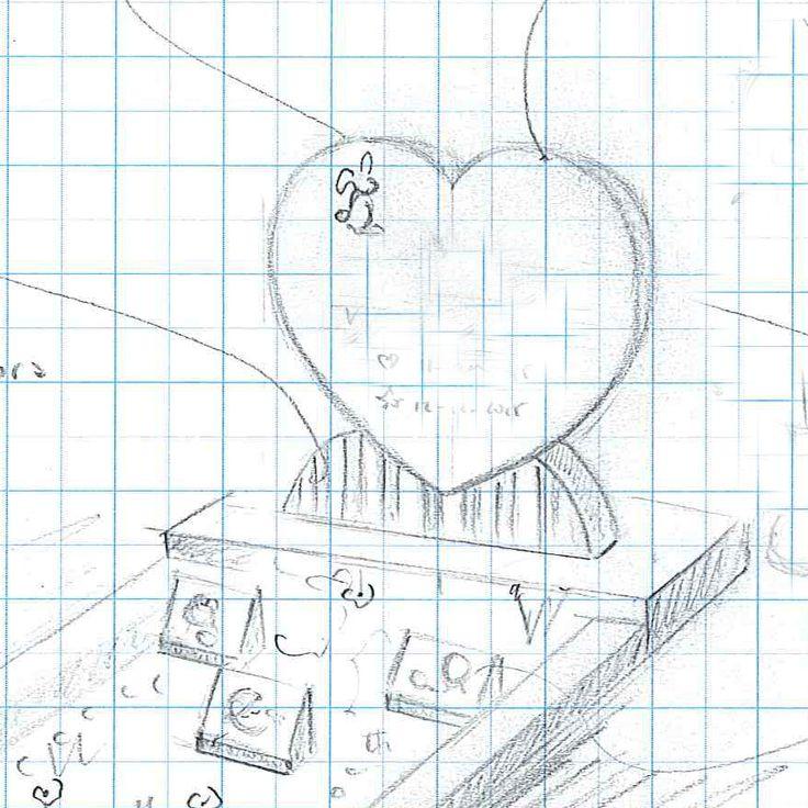 Gedenksteen schets in de vorm van een hart. Een dergelijke schets komt altijd in samenspraak met de familie tot stand.