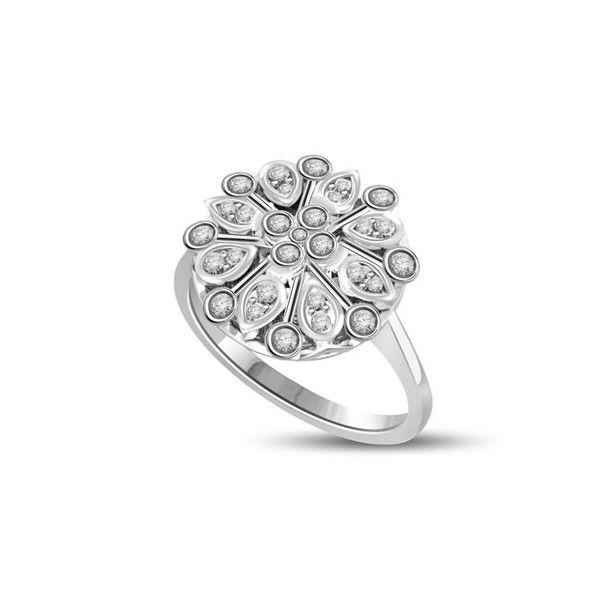 ANELLO CLUSTER CON DIAMANTE 18CT ORO BIANCO | Anello Cluster con design floreale. Il totale carati dei diamanti per questo anello e` 0.32ct . Tutti i diamanti sono taglio brillante. I 4 diamanti centrali sono 0.03ct ciascuno per un totale di 0.09ct.L`anello inoltre ha 16 diamanti che pesano 0.01ct ciascuno e altri 8 ai margini dale peso di 0.005ct ciascuno. Tutti i diamanti sono disponibili da F ad I colore e da VS1 a HSI1 purezza.L`anello e` accompagnato dal certificato del diamante.