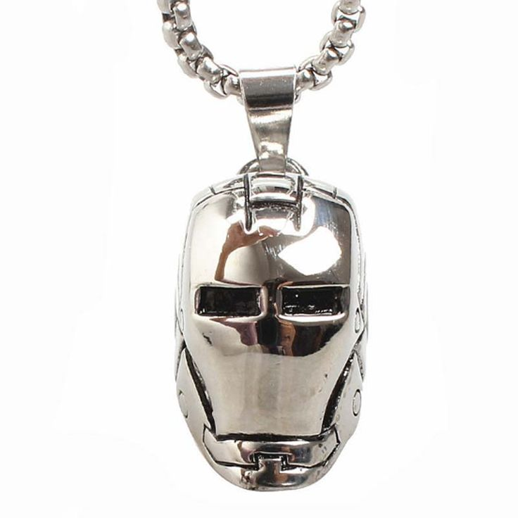 Personalized Rock Iron Man loki Helmet Pendant Necklace Casting Men 316L Stainless Steel Chain Necklace Men Film Jewelry 23in