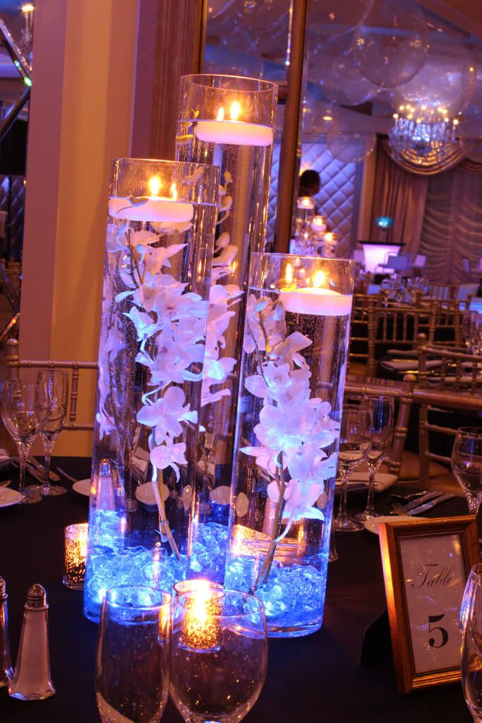 LED Orchid Centerpiece LED Orchid Centerpiece with Blue Crystal Chips & Floating Candles