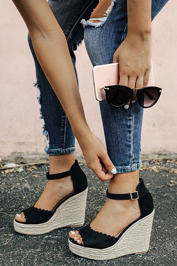 35bcf8916 The Katie Scallop Wedge in Black- 36