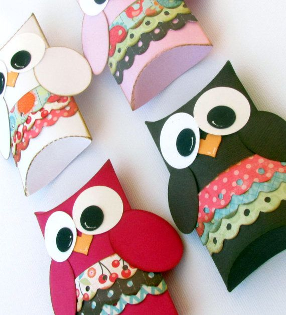 Items similar to Girl Owl Pillow Gift Boxes Set of 12 Baby Shower Birthday Party…