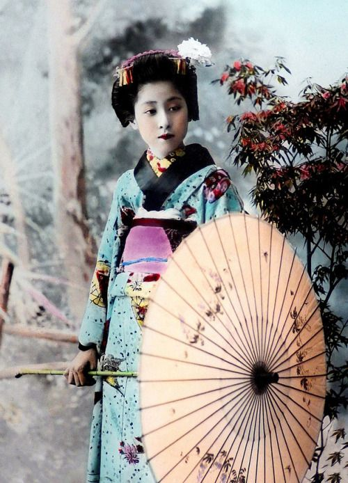 Maiko with parasol. An 1890s study of a young Japanese girl by K TAMAMURA of Yokohama, Japan. This image was extracted directly from a hand-colored photograph on glass / via Okinawa Soba on Flickr