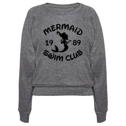 "Mermaid Swim Club - This cute mermaid shirt features a beautiful swimming mermaid and the words ""mermaid swim club"" and is perfect for swimmers, swimming, swimming laps, hitting the pool, synchronized swimming, practicing in an olympic-sized swimming pool, and hanging out with your swim team, whether it be in high school, college, university, or just being a fabulous mermaid!"
