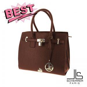 De retour sur placedubonheur - sac porté main SCHERRER PARIS couleur chocolat 24.90€