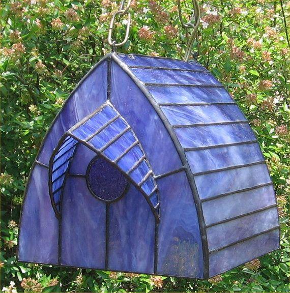Stained Glass Lamp Chickadee Birdhouse Swag door TexasGlassMaster