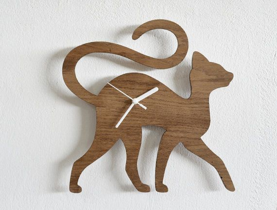 Cat Walking  Wooden Wall Clock by SolPixieDust on Etsy