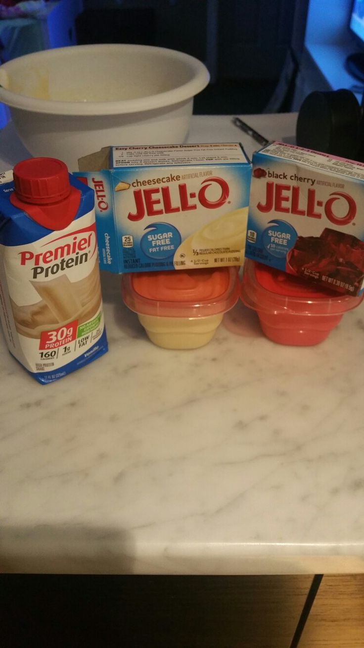 Protein pudding and jello. Instant cheesecake pudding: Mix in 2 cups of cold protein shake to pudding mix and your done. Can be refrigerated or eat 5 mins after pudding has set. Jello protein: Mix 1 cup hot water to jello mix. Add 1 cold cup of protein shake. Refrigerate. Follow steps on box. Instead of cold water use cold protein shake