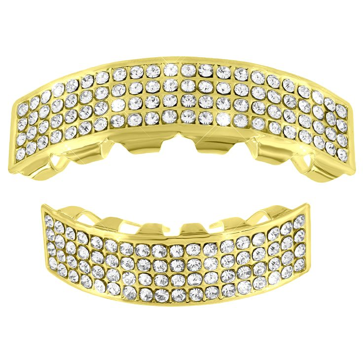 4 Row Iced Out Grillz Yellow Finish Halloween sale