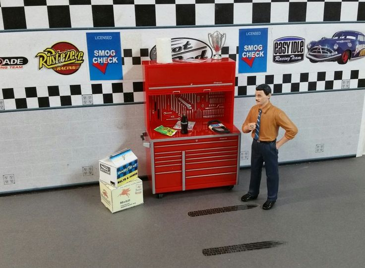 Snap On Tool Box With 9 Garage Diorama Accessories