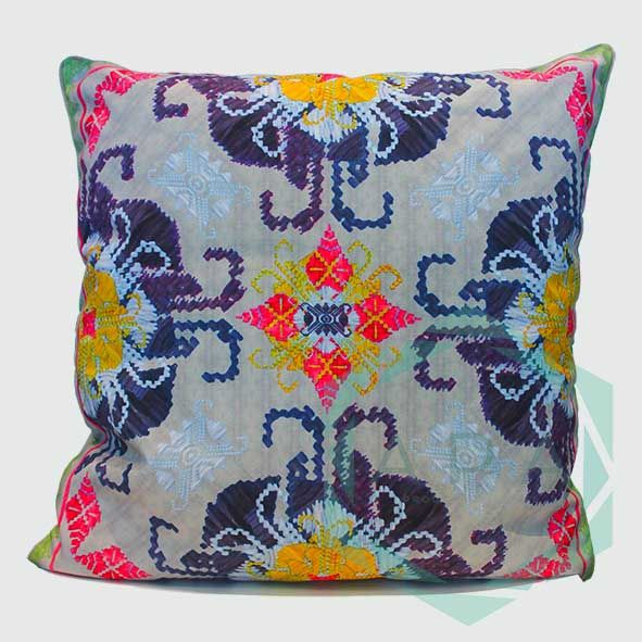 Inspired by the traditional handwoven songket fabric from Lombok.   Our songket cushion is digitally printed on polyester canvas making it durable for both indoor and outdoor use; withstand any weather condition, easily remove stains, easy to wash and colours will not fade away.  Songket3 cushion comes in 2 sizes:  45x45= Rp. 350,000 60x60= Rp. 450,000  For inquiries email us apaproductionhouse@gmail.com