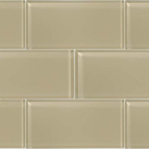 Glass Tile Bathroom Backsplash   Trend Beige Glass Subway 3 X 6