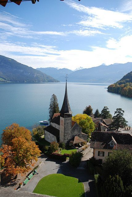Lake Thun Panorama From Spiez Castle, Switzerland
