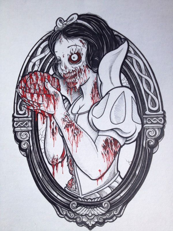Zombie Disney Princesses by Kendel Marce: Zombies Princesses, Zombies Snow, Dark Disney, Tattoo Flash, Disney Princesses, Disney Zombie, White Zombies, Zombies Disney, Snow White