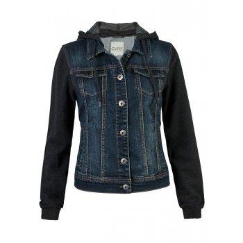 Dark Jean Jacket with Knit Sleeves